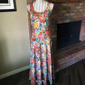 Sundance Catalog Floral Silk Maxi Dress Sz M